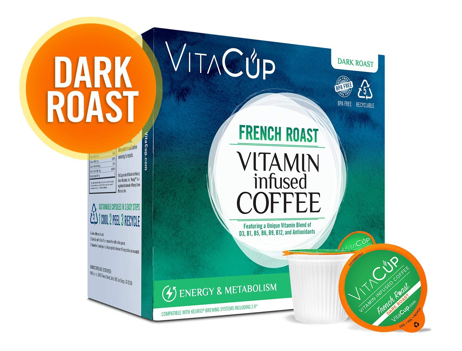 VitaCup Top Rated Coffee Cups Infused With Essential Vitamins B12, B9, B6, B5, B1, D3 in Single Serve Keurig Compatible K Pods, Best Selling French Roast 16 ct.