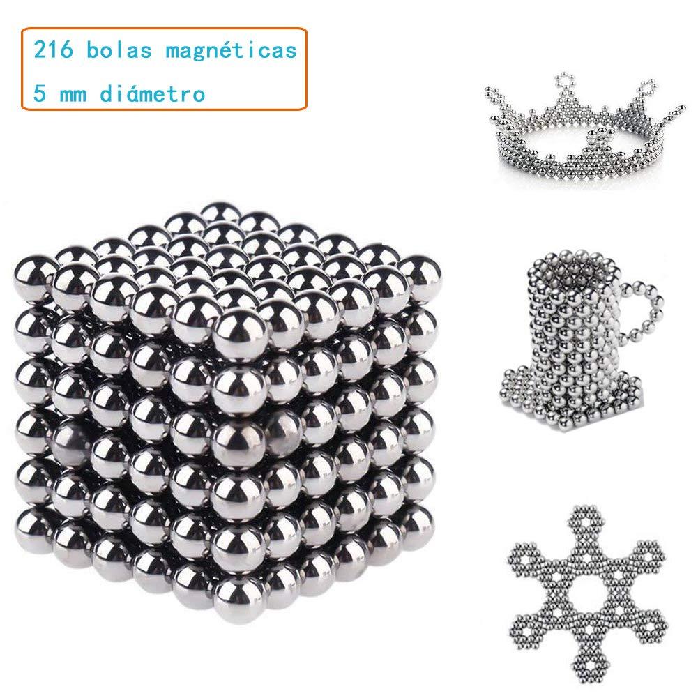 Plateado Rompecabezas de bolas magn/éticas de neodimio Puzzle 3D Juguetes para//Bolas magn/éticas Descompresi/ón Juguete creativo Inteligencia y desarrollo Paciencia Juguetes antiestr/és//216 Bolas 5 mm