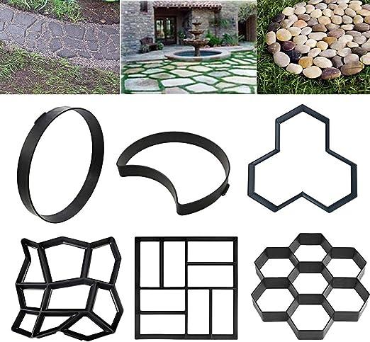 sportuli - Molde para hormigón y pavimento de jardín, reutilizable, para suelos de azulejos, cemento, ladrillo, piedra, pavimento, Style Q: Amazon.es: Jardín