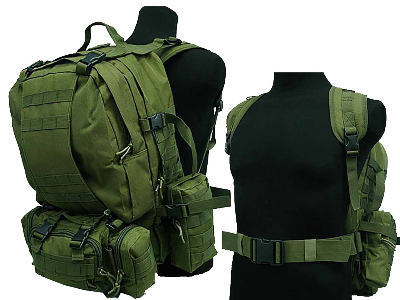 50lタクティカルMOLLE Assault Military Rucksacksバックパックハイキングキャンピングバッグod B06XHXT6LQ