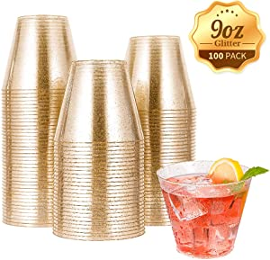 100pcs 9OZ Gold Plastic Cups,Disposable Gold Glitter Plastic Cups,Clear Plastic Tumblers,Wedding Thanksgiving, Christmas Party Cups