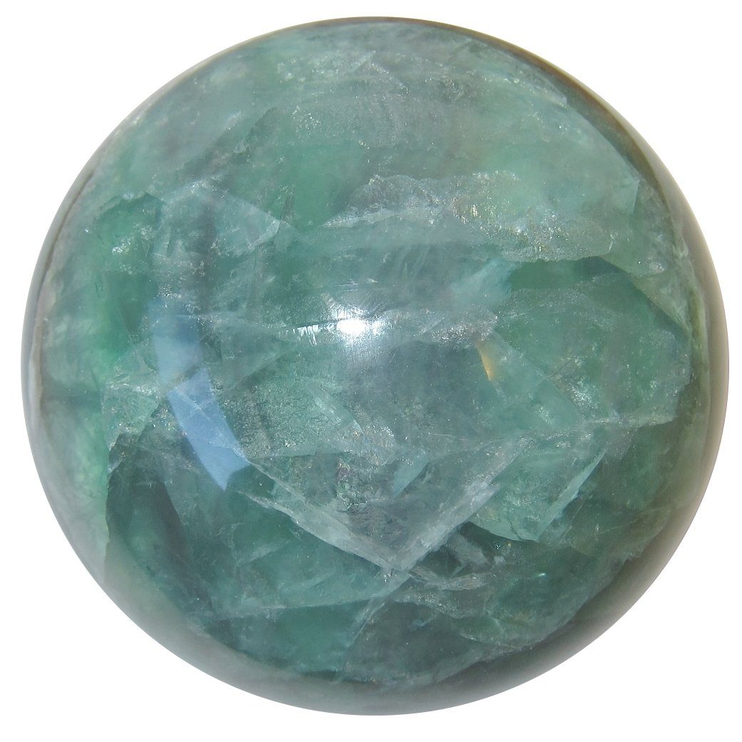 Satin Crystals Fluorite Green Ball Collectible Semi-Clear Healing Energy Stone Genuine Sphere C08 (3.3 Inches)