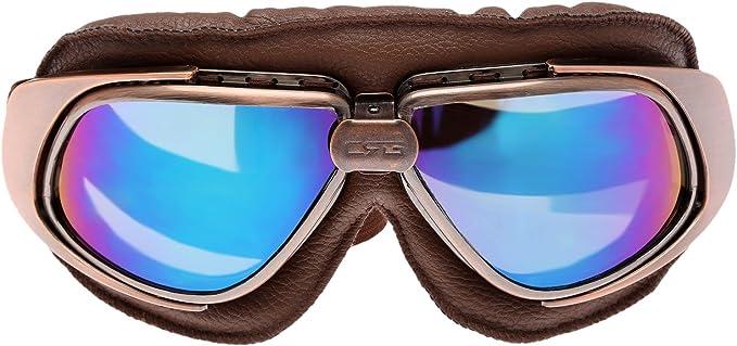 Retro Vintage Sonnenbrille Schutzbrille Pilot Motorrad Sport Für Harley Bunt Glas Bekleidung