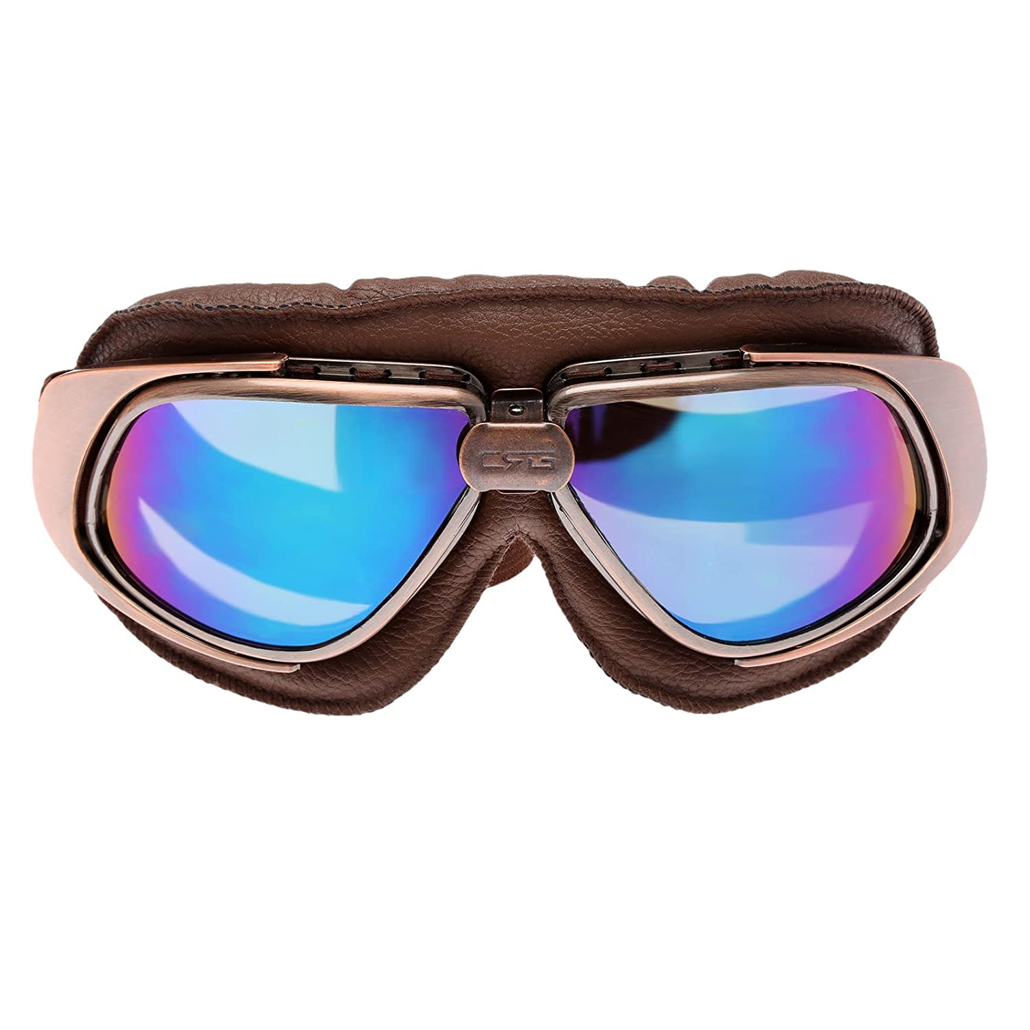 Retro Vintage Aviator Scooter Motorcycle Goggles For Harley Motorcycle SilverLen