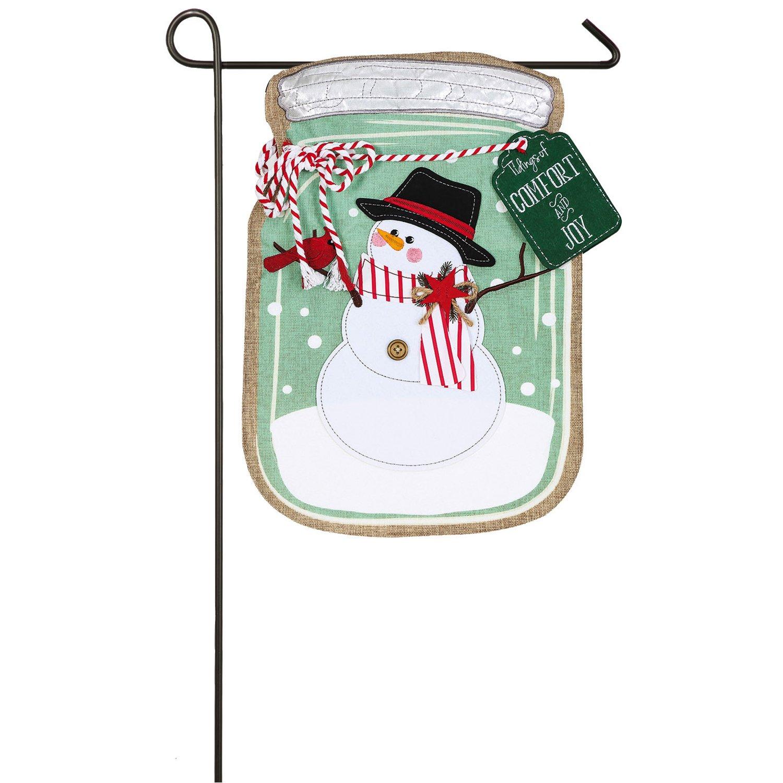 Evergreen Mason Jar Snowman Outdoor Safe Double-Sided Linen Garden Flag, 12.5 x 18 inches