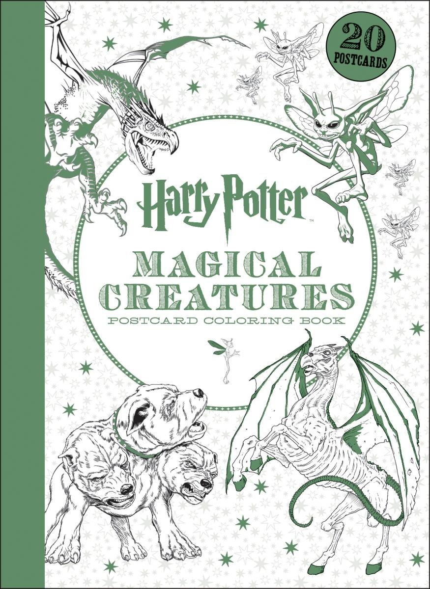 harry potter magical creatures postcard coloring book scholastic 9781338054590 amazoncom books