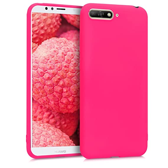 detailed look a9875 7c201 kwmobile TPU Silicone Case for Huawei Y6 (2018) - Soft Flexible Shock  Absorbent Protective Phone Cover - Neon Pink