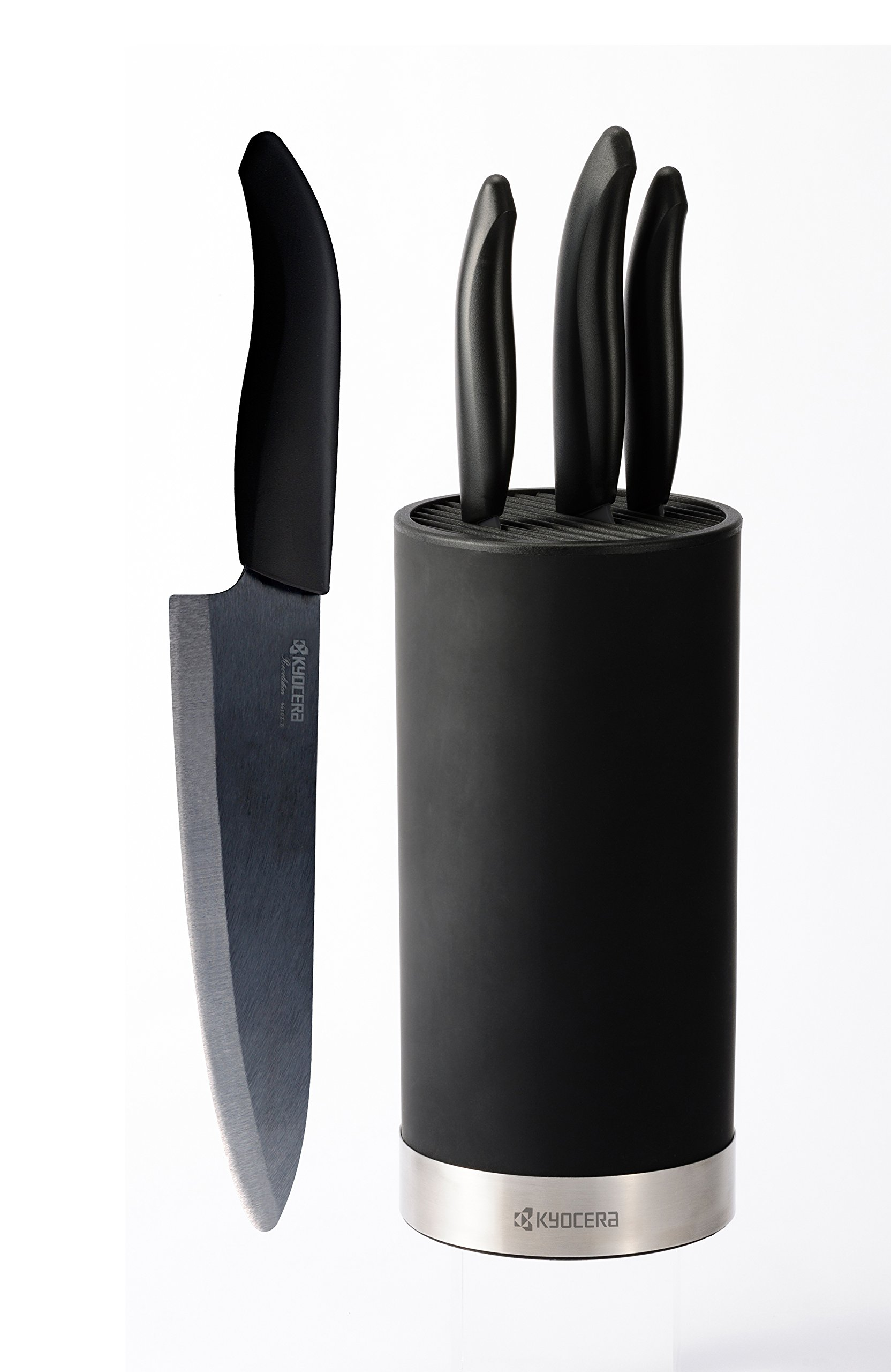 Kyocera Universal Knife Block Set Includes: Black Soft Touch Round Block and 4 Revolution Series Ceramic Knives, Black Blades