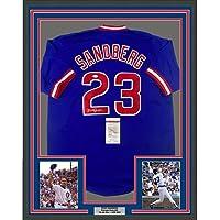 $499 » Framed Autographed/Signed Ryne Sandberg 33x42 Chicago Blue Baseball Jersey JSA COA