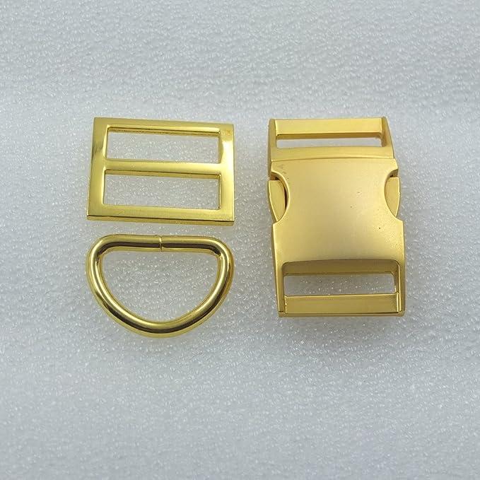 2 Sets Buckles Hook Clip D Dee Ring Side Release Adjustor Triglides dog collar Metal 3//4 19mm Nickle