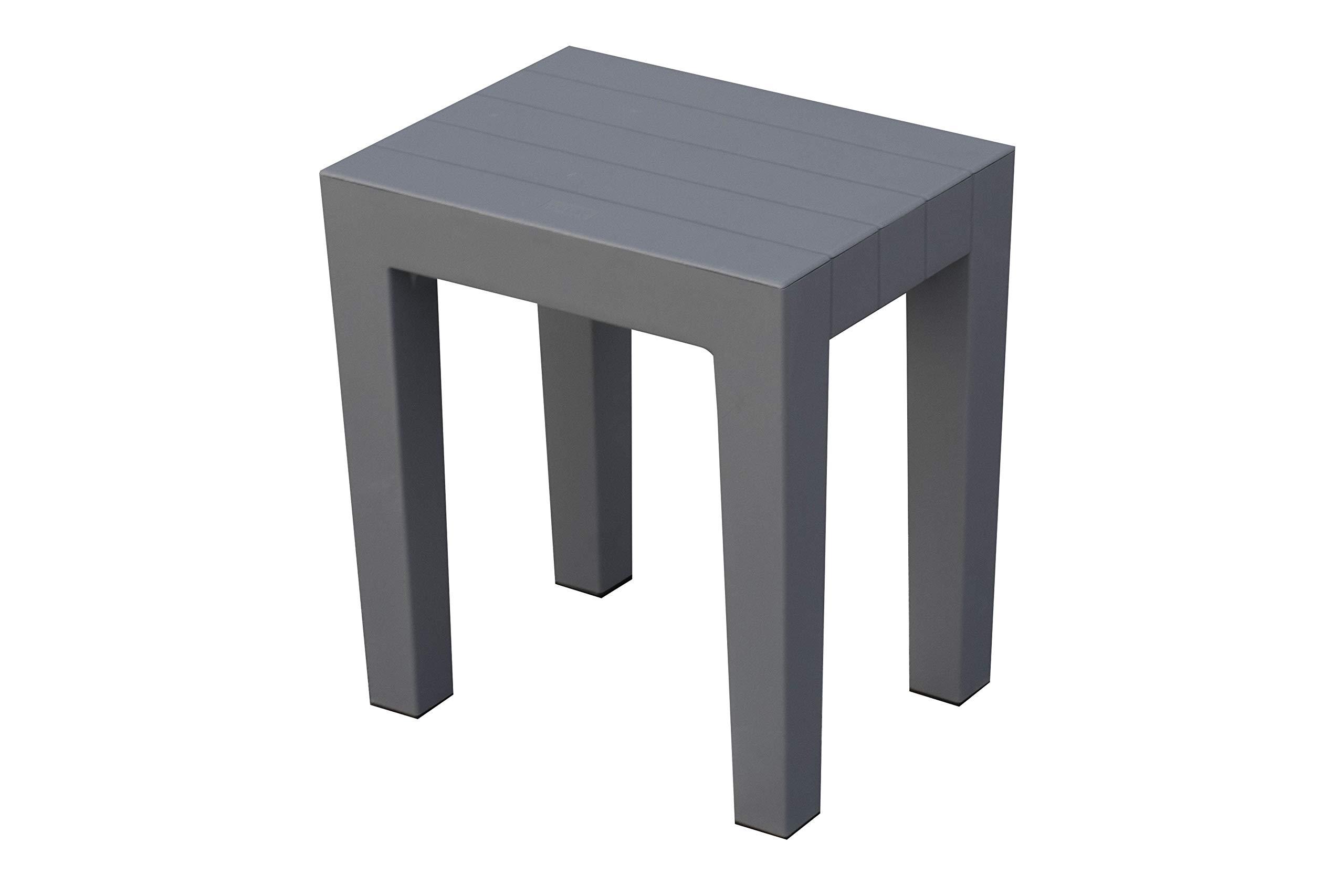 DesignByIntent Polypropylene Shower Stool in Gray