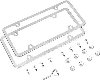 AmazonBasics Stainless Steel License Plate Frame 2-Pack