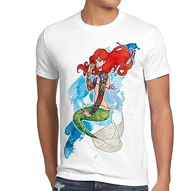 style3 Ariel Sirena Camiseta para Hombre T-Shirt Sirenita tatuar ...