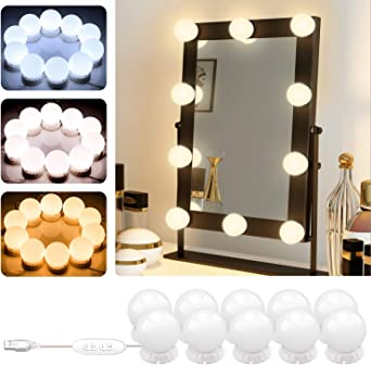 Espejo No Incluido Estilo Hollywood Luces Cosm/ético 10 Bombillas LED Regulables Espejo de Maquillaje L/ámpara de Ba/ño GPODER Luces de Espejo