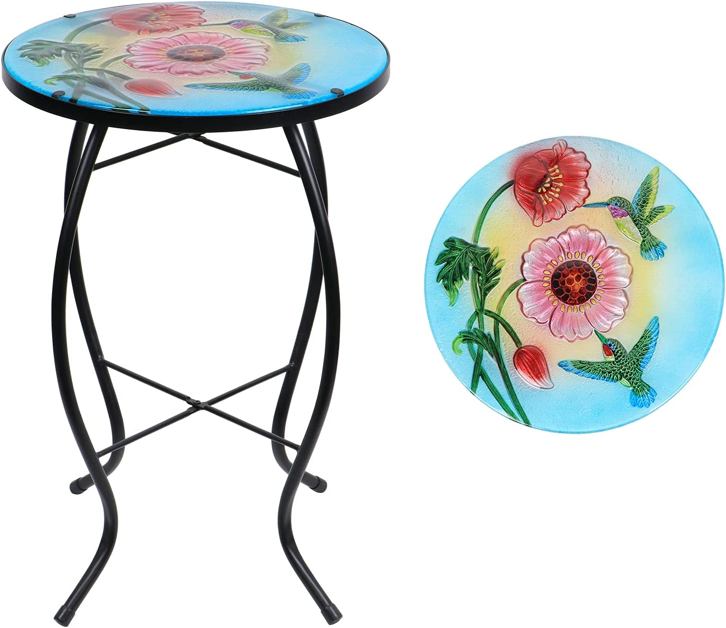 Outdoor Side Table-Patio End Table - Mosaic Accent Table, Flowers and Hummingbirds Glass Small Table Round Side Nightstands for Indoor Garden Plant Stand