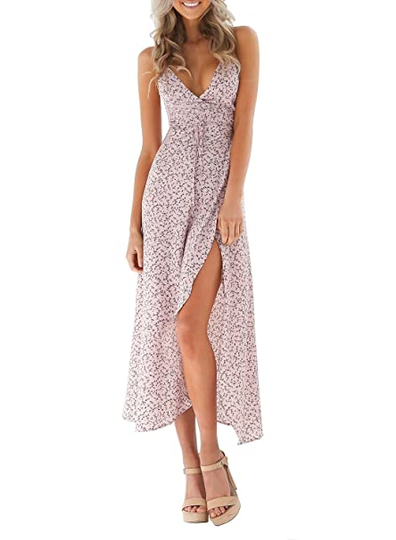 Azbro Mujer Maxi Vestido Abertura Alta Estampado Floral Cuello V Profundo,rosa S