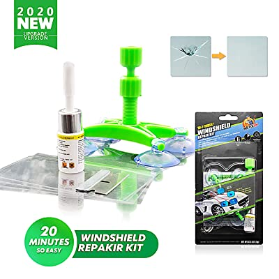 Lifede DIY Auto Glass Repair Kit, Windshield Crack Repair Kit, Car Window Repair kit for Repair Windshield Crack,Half Moon Crescents,Star Chips,Bulls Eye.- 2020 New Version.(Green, 1 Pack): Automotive