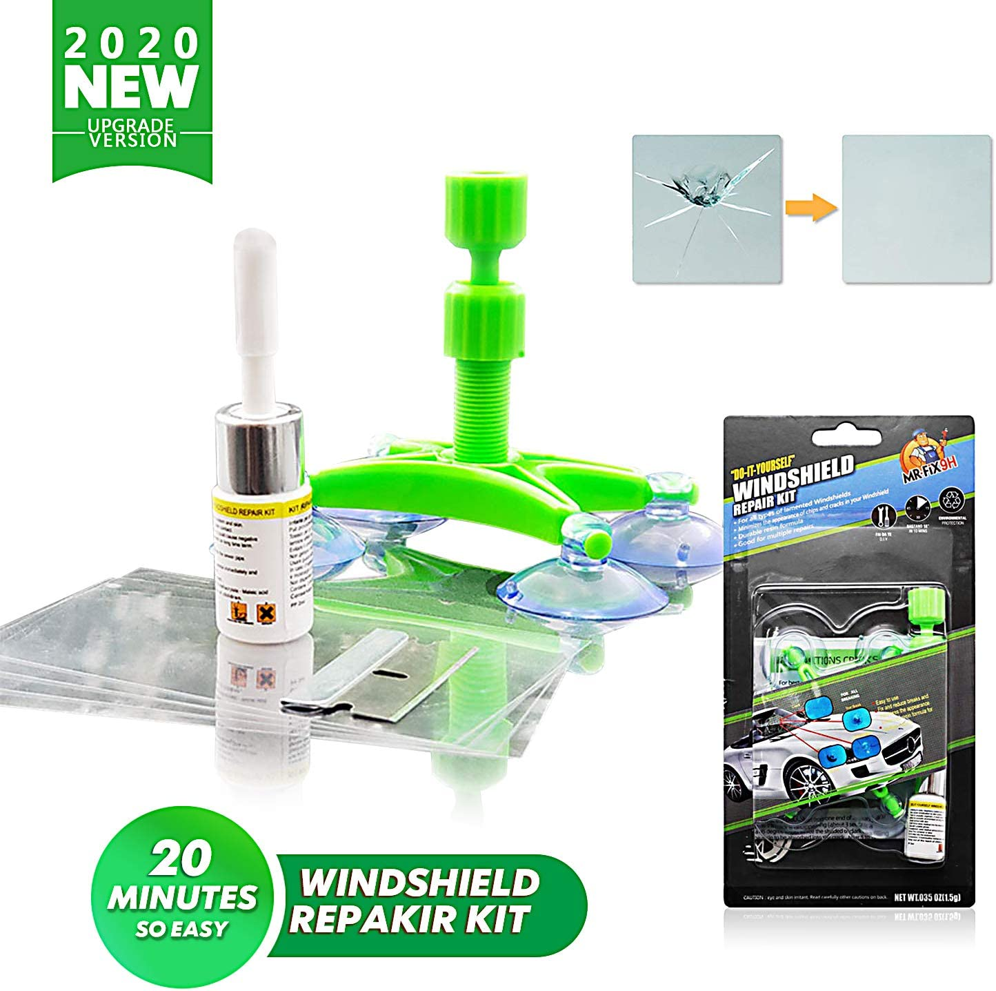 Lifede DIY Auto Glass Repair Kit, Windshield Crack Repair Kit, Car Window Repair kit for Repair Windshield Crack,Half Moon Crescents,Star Chips,Bulls Eye.- 2020 New Version.(Green, 1 Pack)