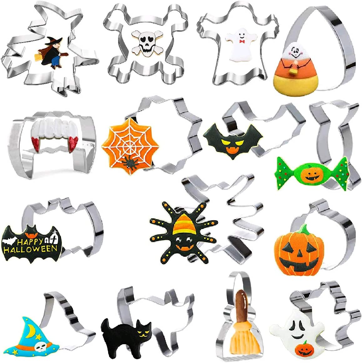 Cofe-BY Funny Cookie Cutters Shapes Set of 15pcs - Kids Cookie Cutters of Pumpkin, Skull, Ghost, Cat, Bat, Witch's Hat, Spider, Corn, Broom, Vampire Teeth and Candy - Stainless Steel Biscuit Cutter
