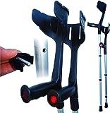 Rebotec 'Magic Twin' Strong Adjustable Crutches - Black