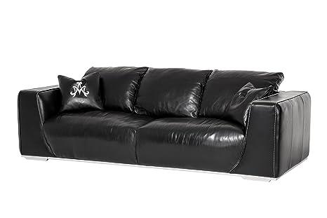 Amazon.com: Michael Amini Sophia Leather Mansion Sofa, Onyx ...