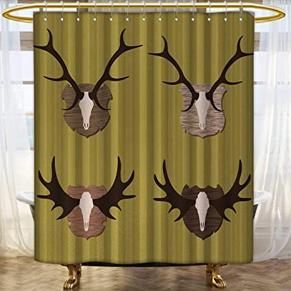 Anhounine Hunting Shower Curtain Collection By Deer And Moose Horns Trophy On Striped Background Mountain Cottage