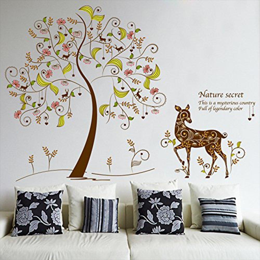 amazon com kaimao fairy tree cute deer wall stickers art decal amazon com kaimao fairy tree cute deer wall stickers art decal murals removable wallpapers for home decoration baby