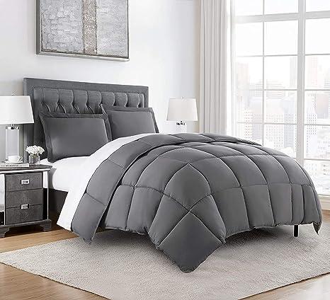 Chezmoi Collection 3 Piece Down Alternative Comforter Set Queen Gray Amazon Ca Home Kitchen