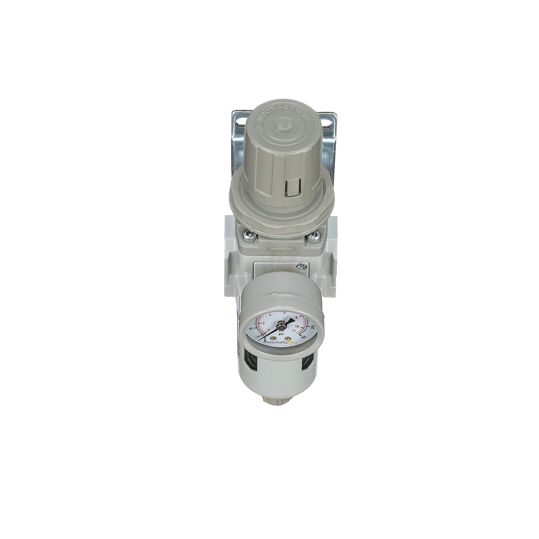 Manual Drain Poly Bowl Bracket Gauge PneumaticPlus SAW300-N03BG ...