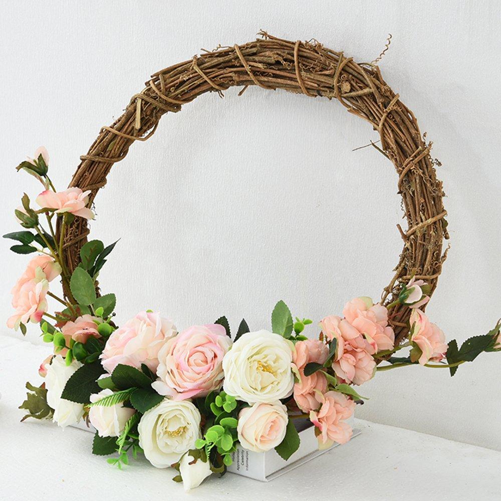 Spring Summer Rattan Wreath,Front Door Wreath,Wedding Rattan Wreath,Wall Art Floral Decor,Vintage Wreath