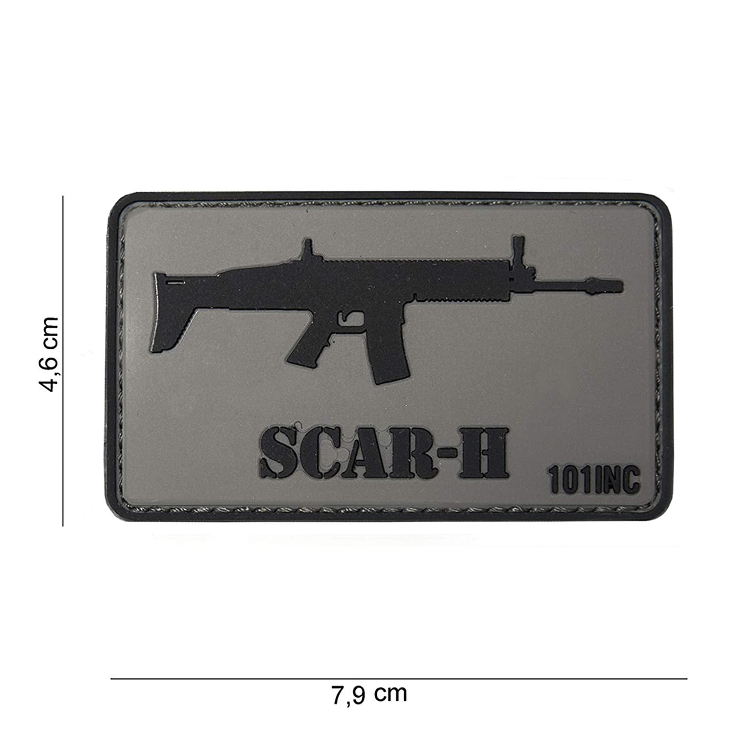 Tactical Attack PVC Scar-H grau Softair Sniper PVC Patch Logo Klett inkl gegenseite zum aufn/ähen Paintball Airsoft Abzeichen Fun Outdoor Freizeit