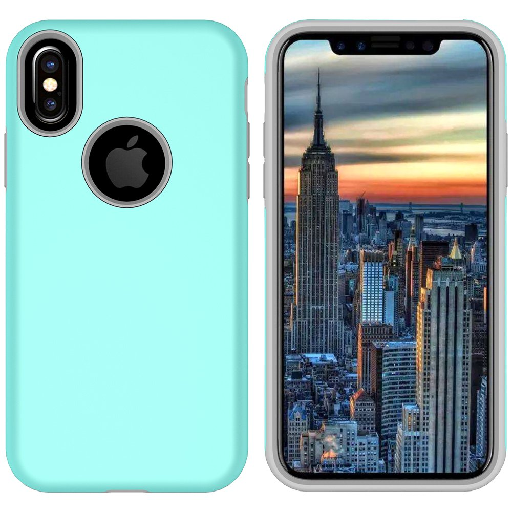 iPhone X Case, MagicSky Slim Corner Protection Shock Absorption Hybrid Dual Layer Armor Defender Protective Case Cover for Apple iPhoneX - Cyan