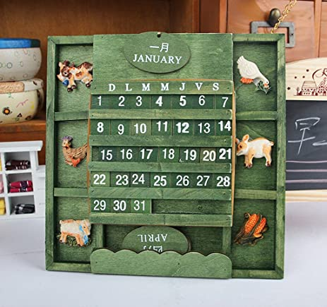 Yiuswoy Creative Home Decor Army Green Wooden Perpetual Wall Calendar  Decoration
