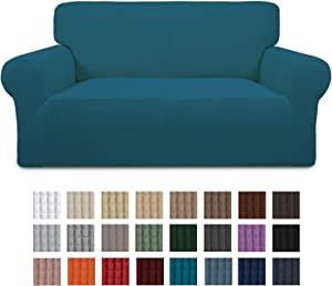 Easy-Going Stretch Loveseat Slipcover 1-Piece Couch Sofa Cover Furniture Protector Soft with Elastic Bottom for Kids. Spandex Jacquard Fabric Small Checks(loveseat,Peacock Blue)
