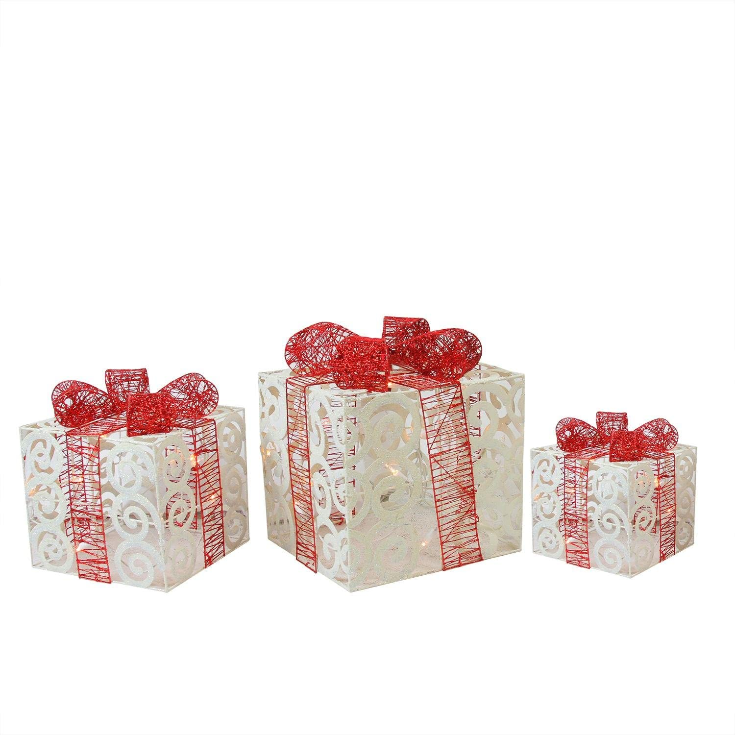 Northlight Set of 3 Lighted Sparkling White Swirl Glitter Gift Boxes Yard Art Christmas Decorations