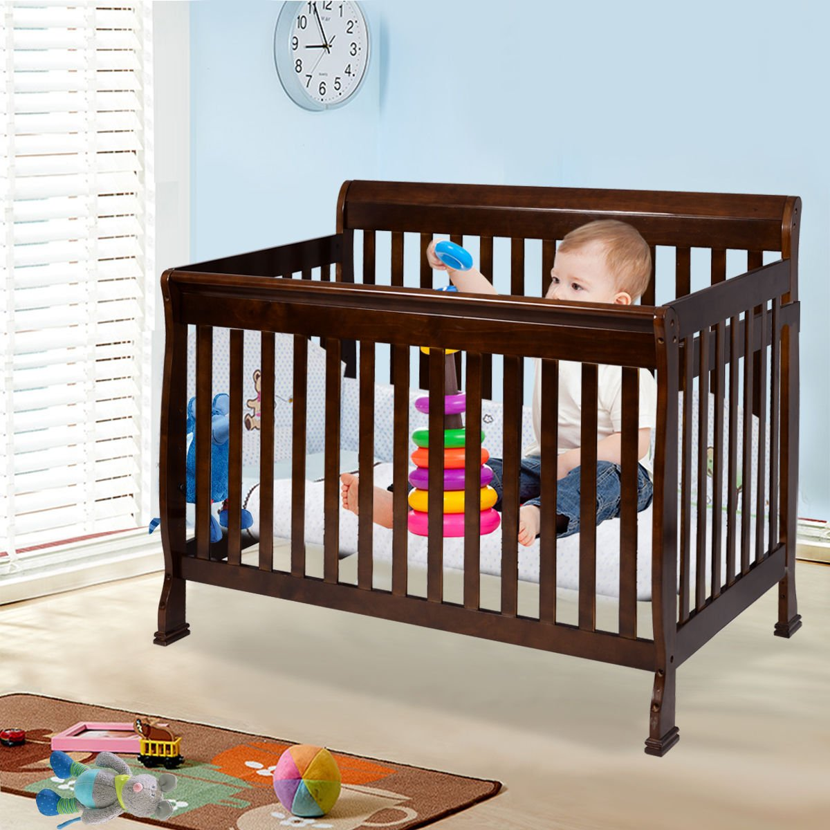 Coffee Pine Wood Baby Toddler Bed Convertible Crib Nursery Furniture Children by Happybeamy (Image #3)