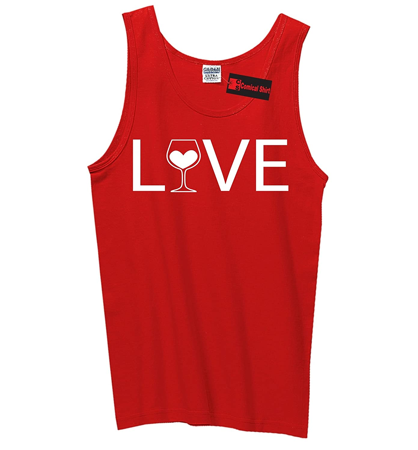 Comical Shirt Mens Love Wine Tank Top