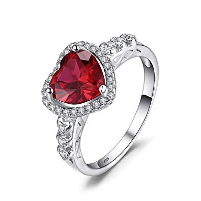 548c6f52f0 JewelryPalace Heart Of Ocean 2.7ct Created Red Ruby Love Forever Halo  Promise Ring 925 Sterling Silver: Amazon.co.uk: Jewellery