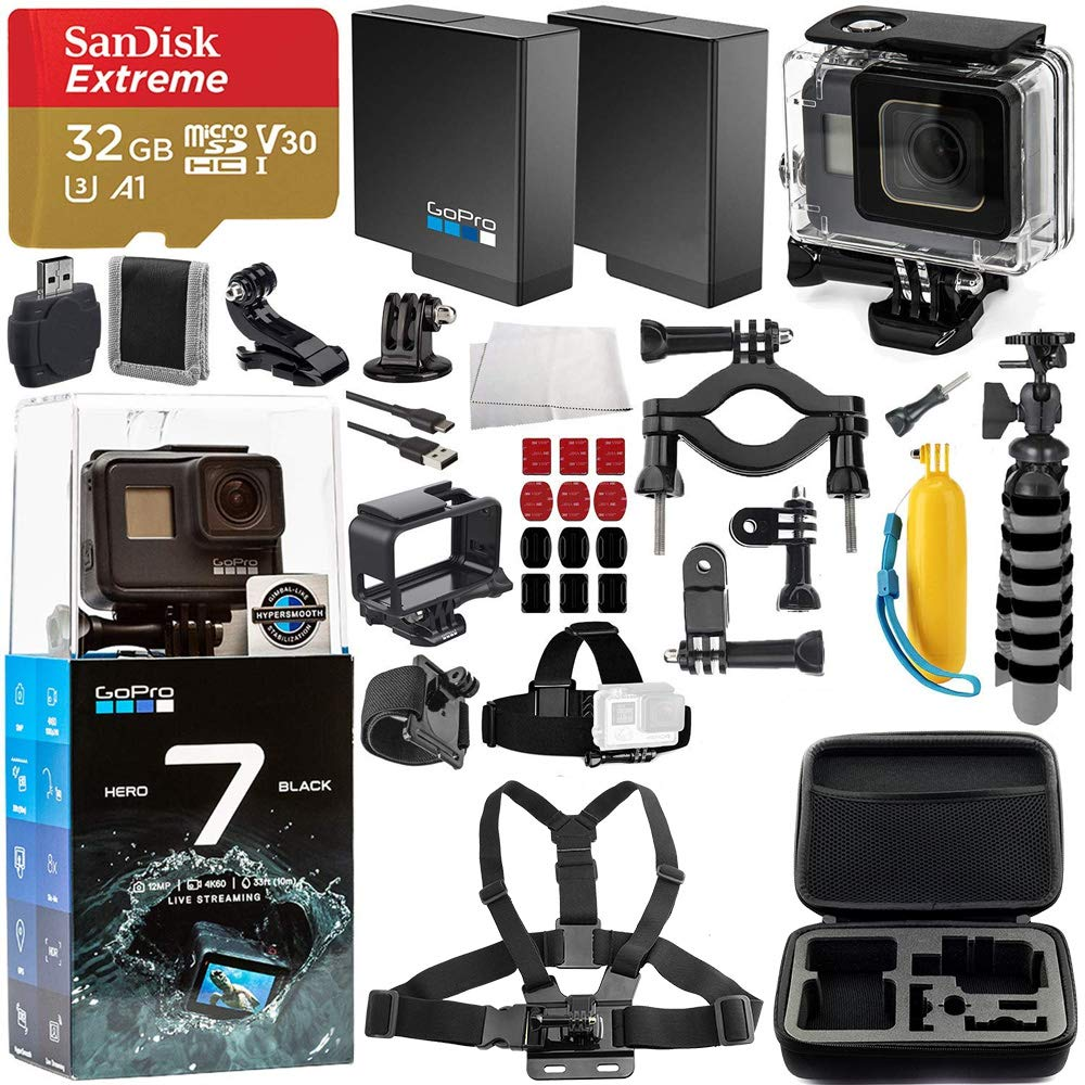 GoPro HERO7 Black Deluxe Bundle Includes: SanDisk Extreme 32GB microSDXC Memory Card + Replacement Battery + Underwater Housing + Carrying Case and ...