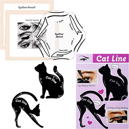 Conjunto Modelo de Eyeliner para el Eye-Liner Parfait por Blissany, Cat ojos, ojos Stencil 16 Styles, Double Wing, Extravagant Cat, Arabic Eyeliner de 2 piezas: Amazon.es: Belleza