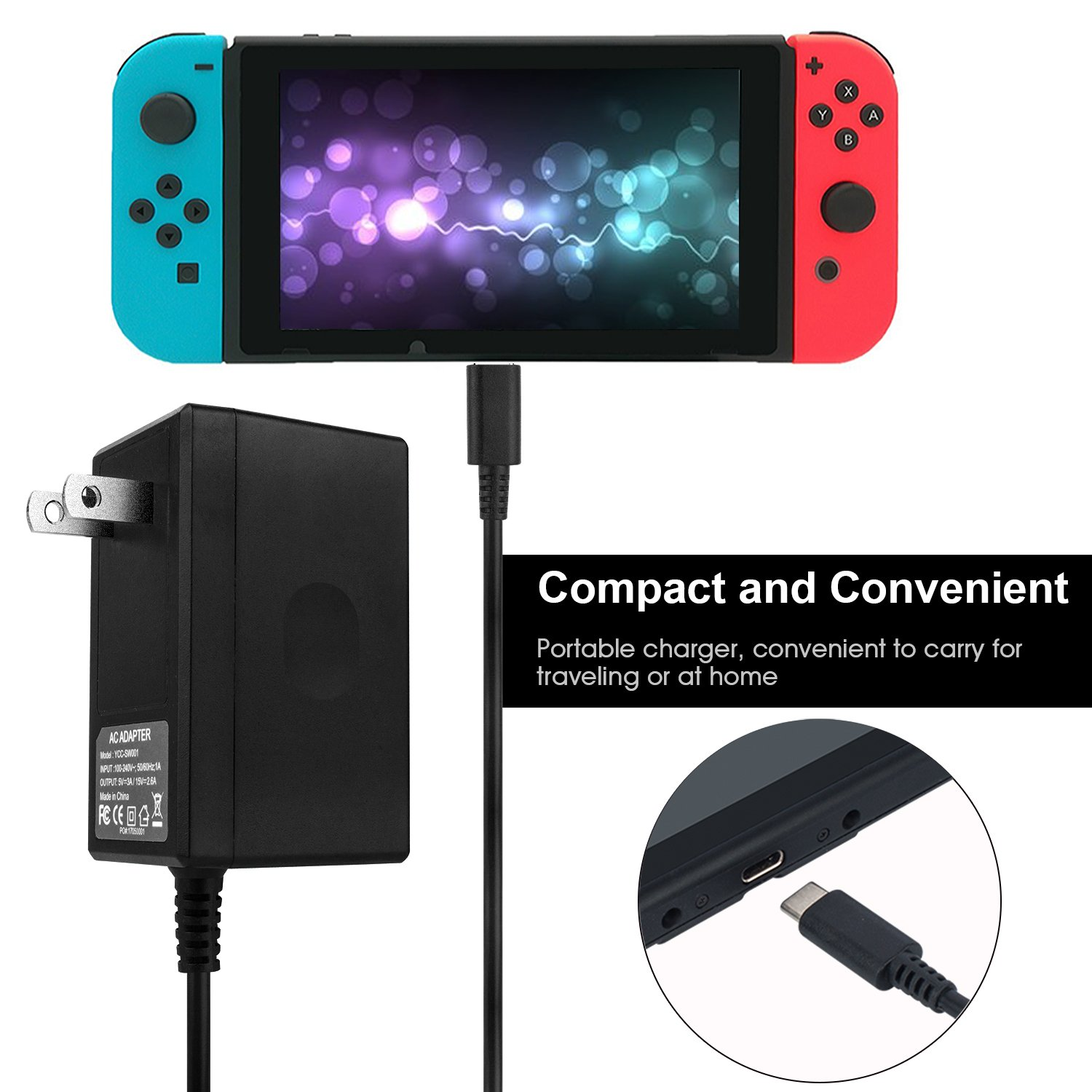 Charger for Nintendo Switch, Portable AC Adapter with 5ft Power Charging Cable for Nintendo Switch Dock/Pro Controller, Support TV Mode and NC 5.0 system