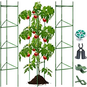BLIKA 72 inches Tall Tomato Cages, 3 Pack Tomato Cages Assembled Garden Plant Support Stakes for Vertical Climbing Plants, Plant Stakes and Support with Clips
