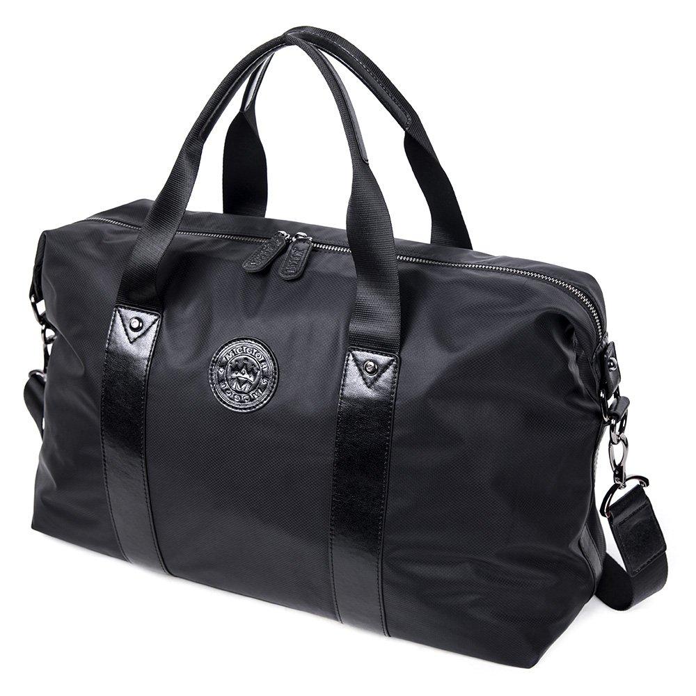 MUZOR Water Resistant Travel Tote Duffel Bag Shoulder Carry on Bag Weekender Overnight Bag (Black)