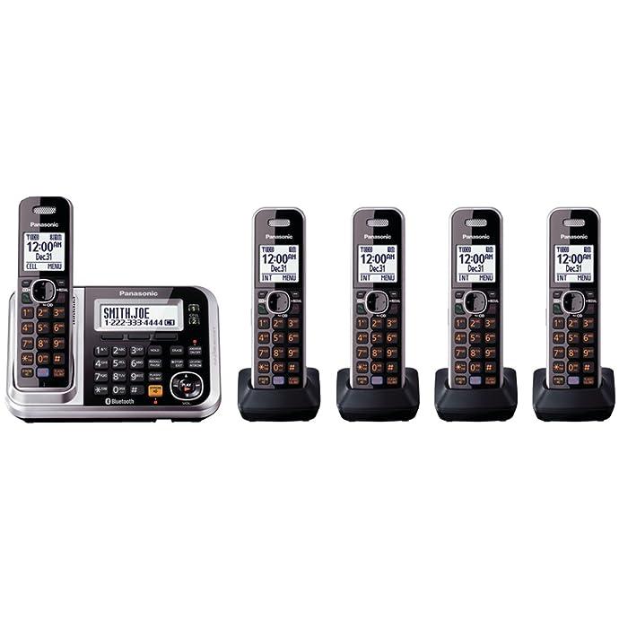 金盒特价 Panasonic 松下 KXTG7875S 1拖4蓝牙无绳电话(带自动答录)5折$85史低 海淘转运到手约¥719