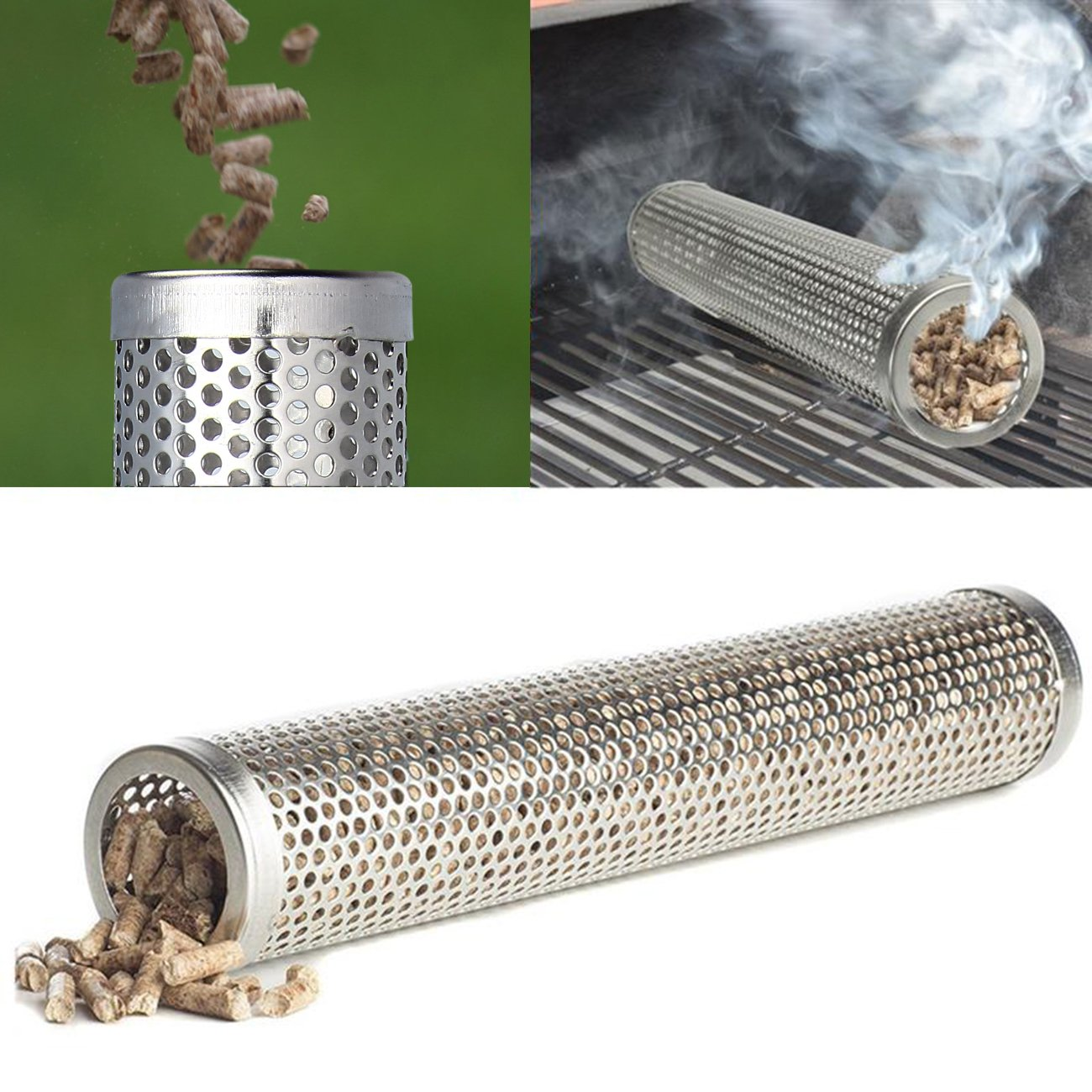 Evilandat Pellet Smoker Tube Stainless Steel BBQ Pipe for Grill Barbecue Wood Pellet