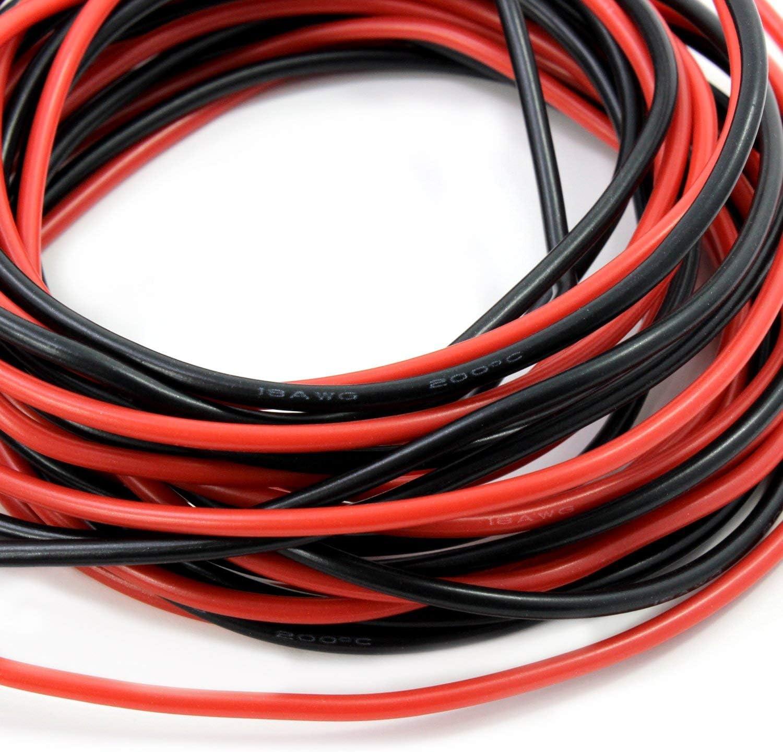 10 pies Negro YUNIQUE Espagne/® 20 pies 18AWG Cable de Silicona s/úper Flexible Caucho de Silicona 18 AWG 10 pies Rojo