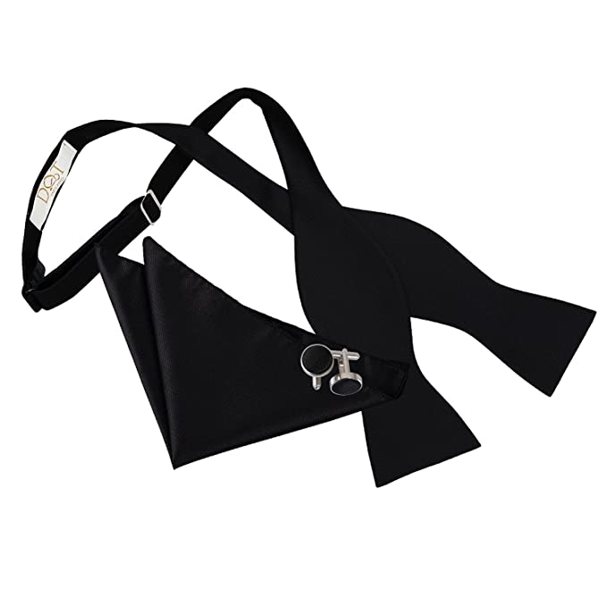 DQT Woven Plain Solid Check Black Formal Classic Mens Self Tie Bow Tie