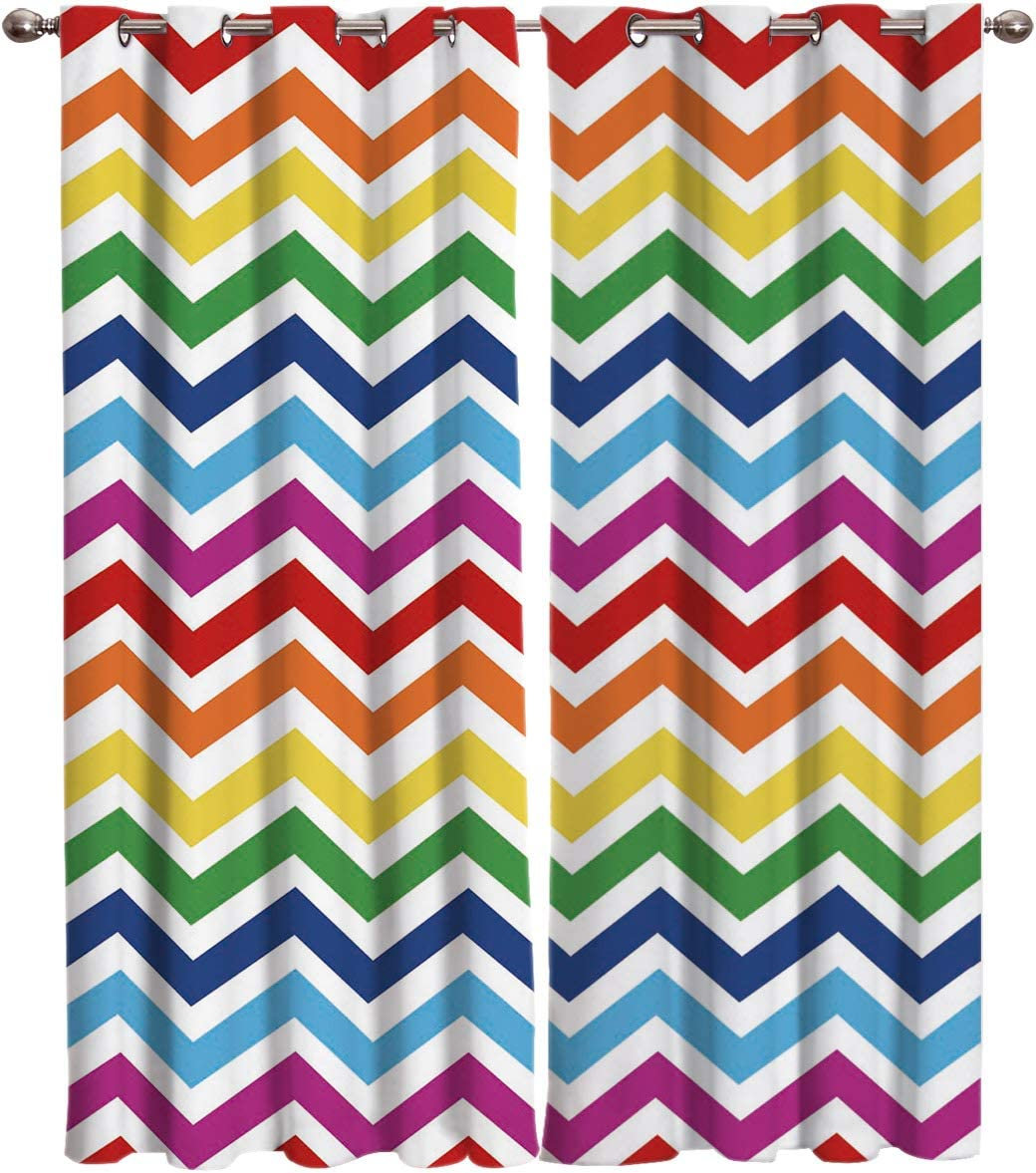 T H Home Rainbow Chevron Curtains, Zig Zag Pattern Window Curtain, 2 Panel Curtains for Sliding Glass Door Bedroom Living Room, 104 W by 90 L