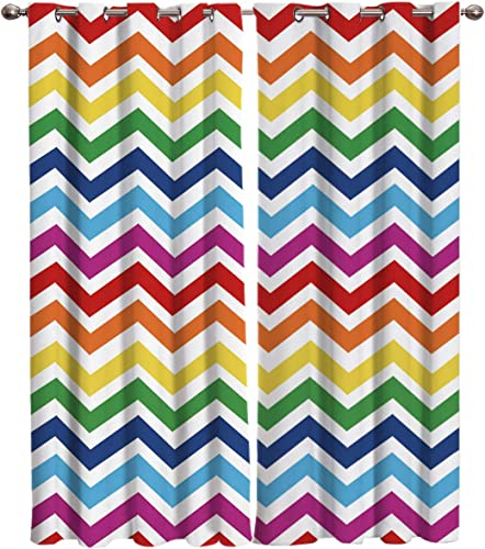 T H Home Rainbow Chevron Curtain