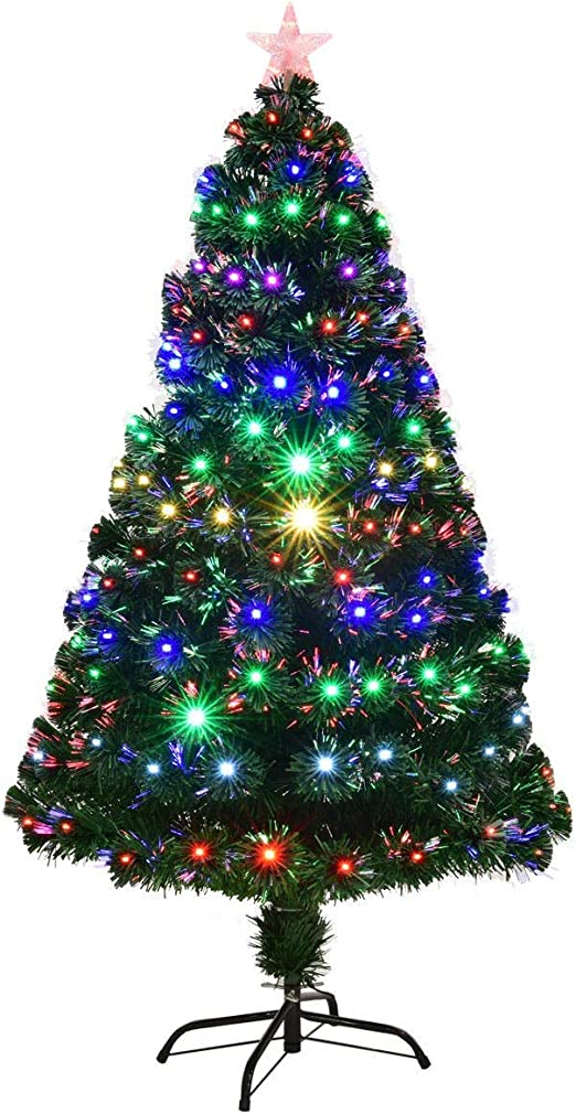 Fibre Optic Christmas Tree Light Branches Pot Artificial Green Small Office Room